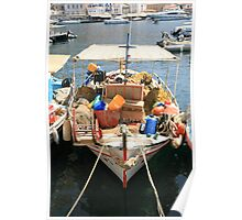 Fishing Boat at Hydra Harbour Poster