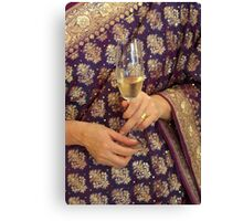 Champagne on sari Canvas Print