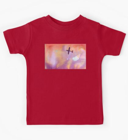 airplane over sunset Kids Tee