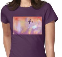 airplane over sunset Womens Fitted T-Shirt
