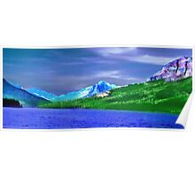Beautiful blue water, green grass purple mountain and clouds Poster
