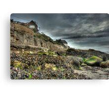 Grey day at Runswick Bay Canvas Print