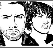 Dean & Sam Supernatural - Sharpie Drawings by Jason westwood