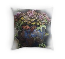 Blue Strawberry Jar Throw Pillow