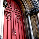 Red Church Door (Mt. Vernon) by sadeyedartist