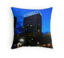 Blue City Sunset Throw Pillow