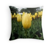 Golden Tulips Throw Pillow
