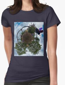 Siblings on a 6 Seater Swing Womens Fitted T-Shirt
