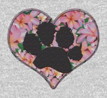 Paw Print in Heart with Flowers Kids Clothes