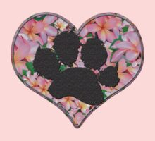 Paw Print in Heart with Flowers One Piece - Short Sleeve
