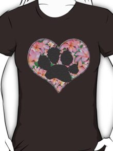 Paw Print in Heart with Flowers T-Shirt