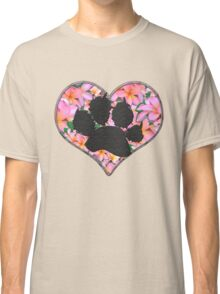 Paw Print in Heart with Flowers Classic T-Shirt