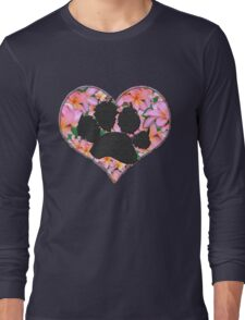 Paw Print in Heart with Flowers Long Sleeve T-Shirt