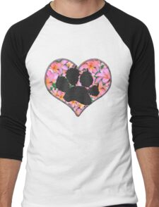 Paw Print in Heart with Flowers Men's Baseball ¾ T-Shirt