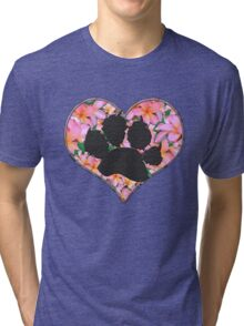 Paw Print in Heart with Flowers Tri-blend T-Shirt