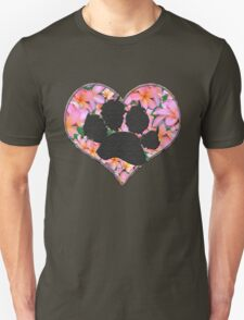 Paw Print in Heart with Flowers Unisex T-Shirt