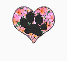 Paw Print in Heart with Flowers Womens Fitted T-Shirt