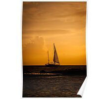 Sailing a sunset sky Poster