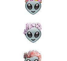 Three Aliens In Flower Crowns Emojis by Emoji Mania