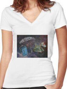 Space Walkies! Women's Fitted V-Neck T-Shirt