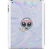 Smoking Alien Emoji In A Flower Crown  iPad Case/Skin