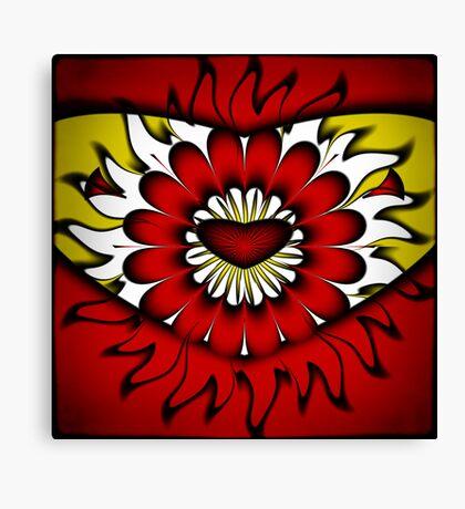 Flower, Heart and Sun Canvas Print
