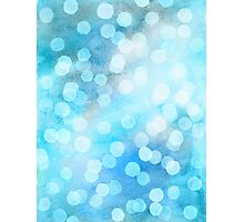 Turquoise Snowstorm - Abstract Watercolor Dots Photographic Print