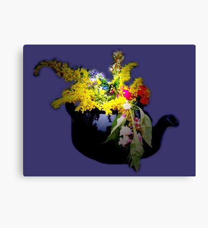 Visitor in the herb garden Canvas Print