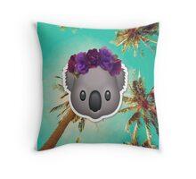 Koala in a Flower Crown Emoji Design Throw Pillow
