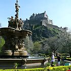 Edinburgh Castle and the Ross Fountain by Jo Newman