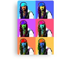 Captain Jack Sparrow Andy Warhol style Poster, Pop Art 6 Color Digital Poster Portrait. Pirates of the Caribbean. Canvas Print