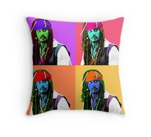 Captain Jack Sparrow Andy Warhol style Poster, Pop Art 6 Color Digital Poster Portrait. Pirates of the Caribbean. Throw Pillow