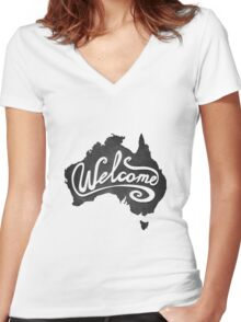 Welcome Australia Women's Fitted V-Neck T-Shirt