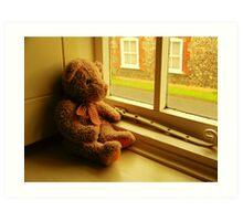 TEDDY LOOKING THROUGH THE WINDOW..WAITING... Art Print