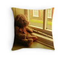 TEDDY LOOKING THROUGH THE WINDOW..WAITING... Throw Pillow