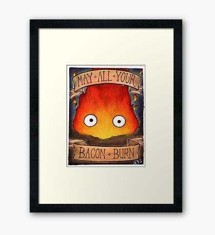 Studio Ghibli Illustration: CALCIFER #2 Framed Print