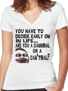 Are You a Cannibal - humor Women's Fitted V-Neck T-Shirt