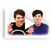 Dan & Phil YouTube Play Button Canvas Print