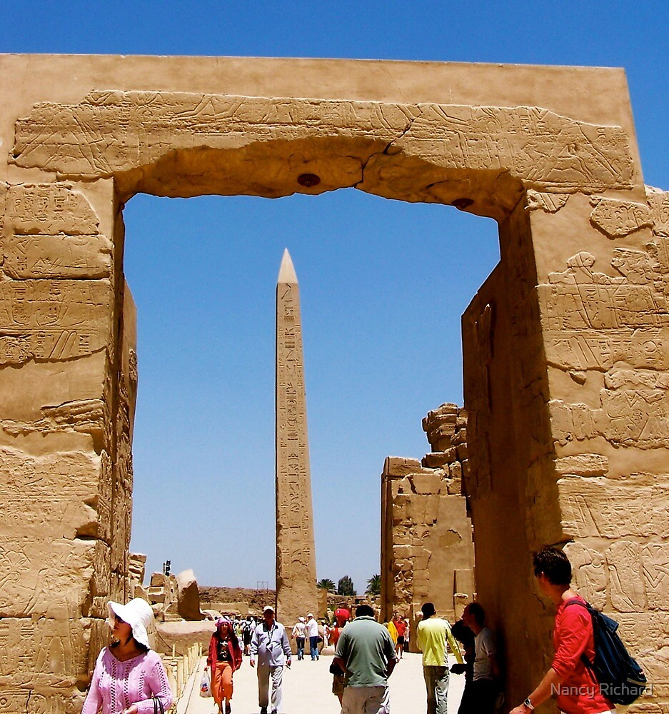 Obelisk at Temple of Karnak by Nancy Richard