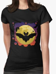 Bats and Moon Womens Fitted T-Shirt