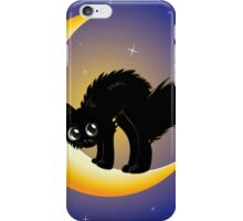 Black cat on moon iPhone Case/Skin
