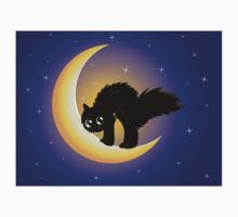 Black cat on moon Kids Clothes