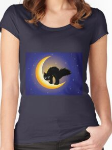 Black cat on moon Women's Fitted Scoop T-Shirt