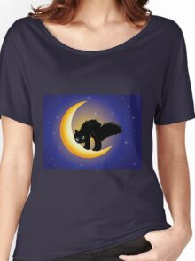 Black cat on moon Women's Relaxed Fit T-Shirt