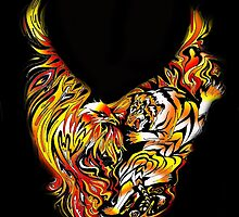 Tiger and Phoenix Fire by wildwildwest