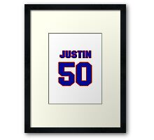 National football player Justin Rogers jersey 50 Framed Print