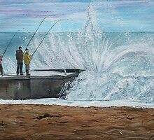 Fishing, Collaroy Beach, Australia, Seascape by © Linda Callaghan
