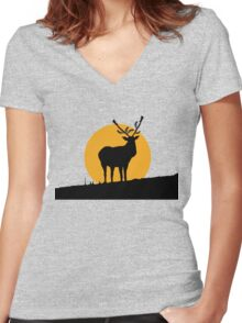 Gun Deer Women's Fitted V-Neck T-Shirt