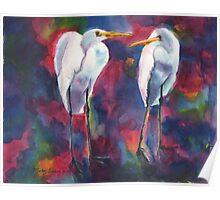 Egret Lovers  Poster