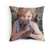 The Girl and Her Tiger Throw Pillow